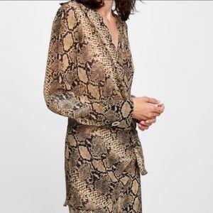 Zara snakeskin print wrap top